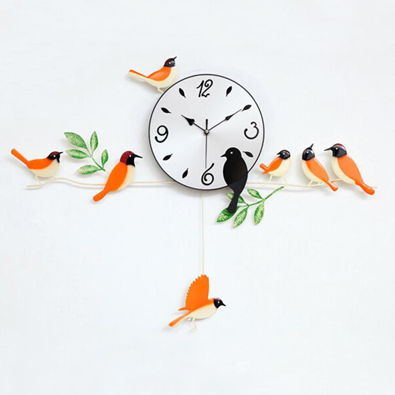 En gros - oiseau horloge murale 2016 horloge murale décoration de la maison décor unique horloges peinture montre morden conception oiseaux cadeau unique artisanat t6
