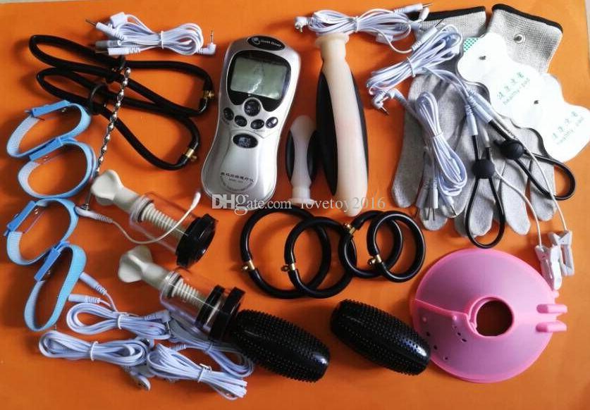 Electro Pulse Shock BDSM Bondage Gear Kit Pene Fisioterapia Anillo Enlarger Uretral Butt Plug Sexual Desire SM Producto de juguete sexual para adultos