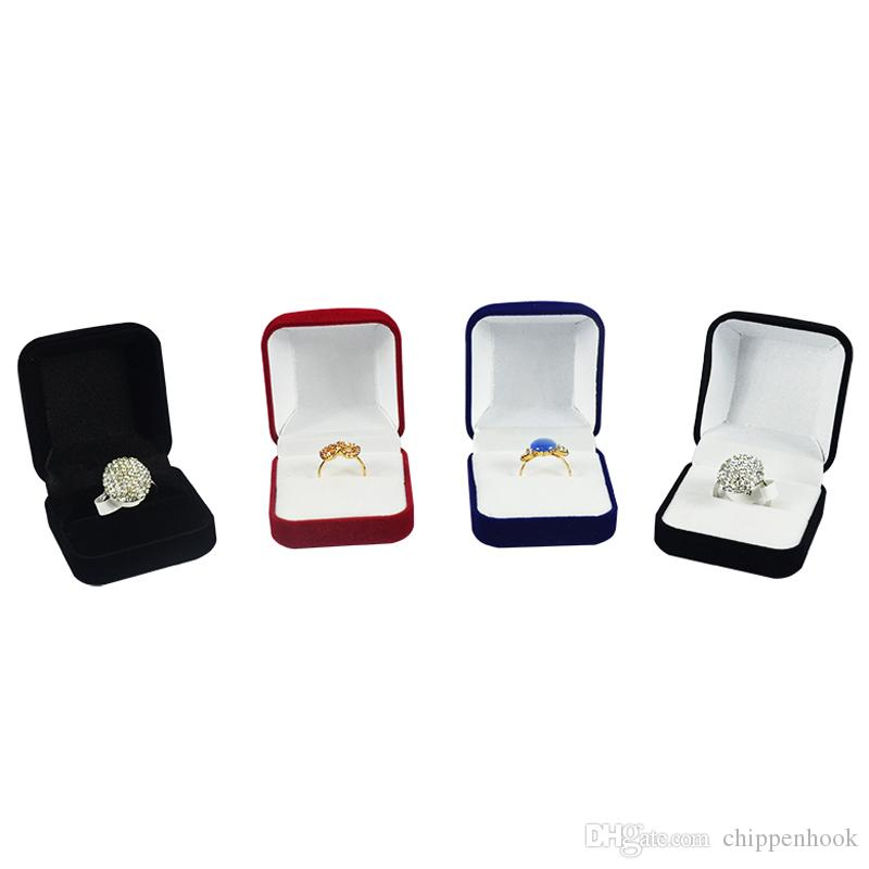 Wholesale 6Pcs Jewelry Display Box Red Black Blue Blocked Ring Jewelry Organizer Box Ring Package Storage Gift Box 5*5.8*3.5CM