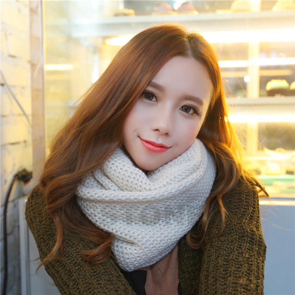Atacado- Meninas Versão Coreana O único laço de lã Collar Knit Mulheres inverno quente único círculo Knitting Cachecol malha lenço no pescoço