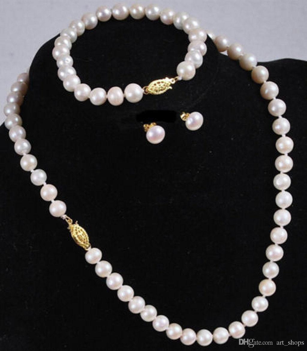 Natürlicher 7-8MM weißer Akoya-Zuchtperlen-Halsketten-Armband-Ohrring-Satz