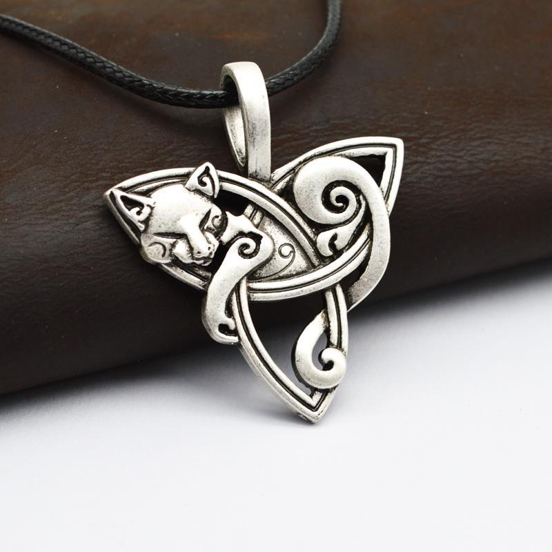 Gros- 1pcs Grand Bijoux Viking hommes Triquetra Fenrir Collier Teen Wolf animal irlandais Celtics noeud Pendentif Amulette Collier CT526