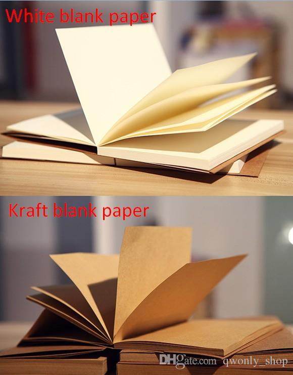 Wholesale A4 Blank Pages Kraft Notebook Vintage 56 Sheets Notepad Book Office School Supplies Stationery Gifts