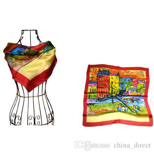 Vierkante 100% zijde hals sjaals zijden sjaals 10 stks / partij maat 90 * 90 cm # 1891