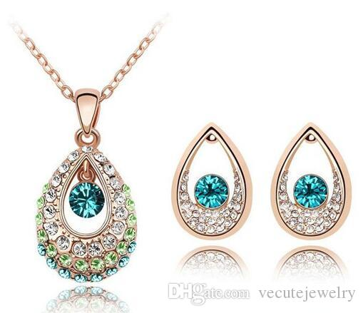 18K Gold Silver Plated Teardrop Austrian Crystal Necklace Earrings Jewelry Set Made With Swarovski Elements Women Wedding Jewelry Sets