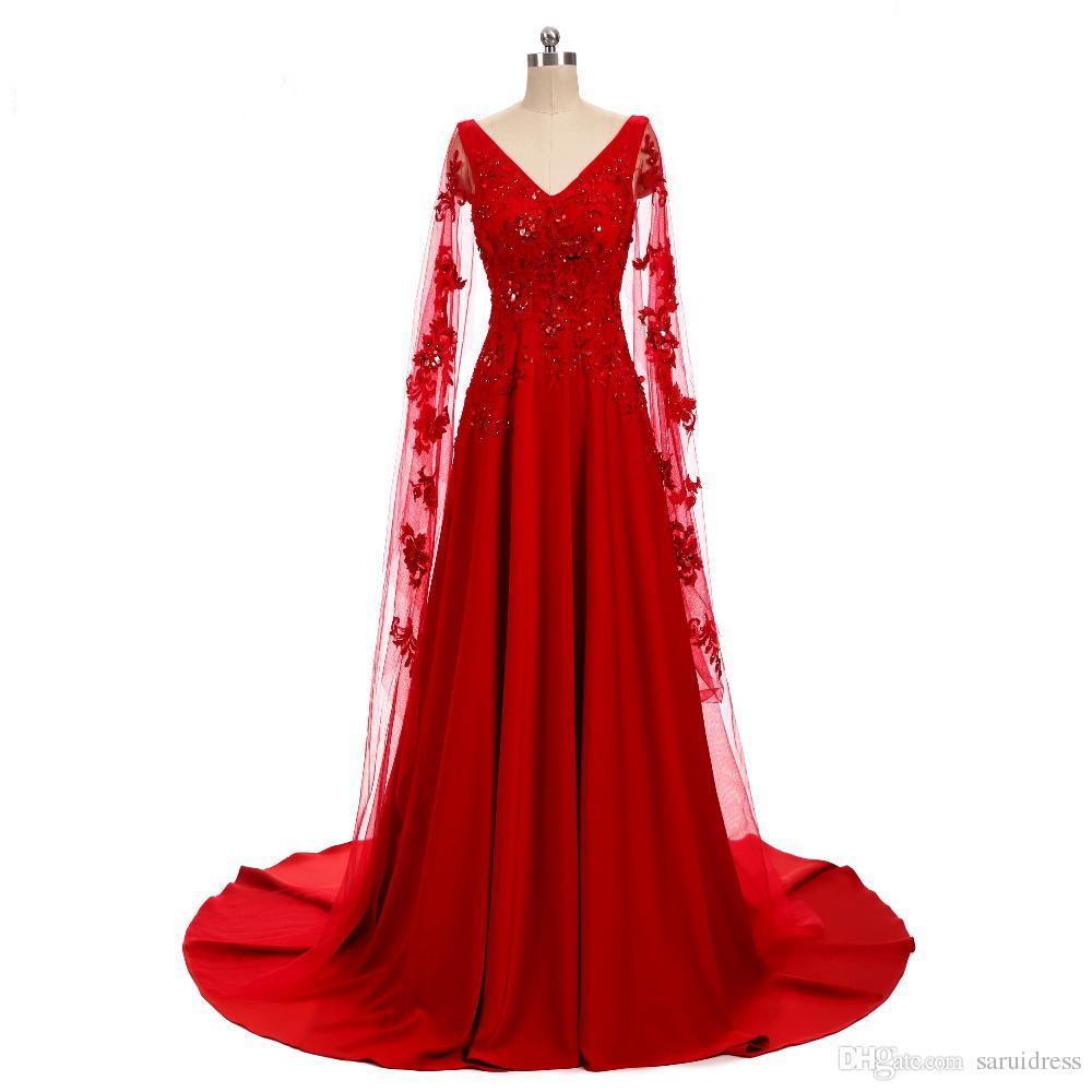 Compre Mangas Largas Vestido De Noche Rojo Apliques Encaje Nuevo Diseño Vestidos De Fiesta Vestido Con Cuello En V Vestido De Fiesta Real A 21619