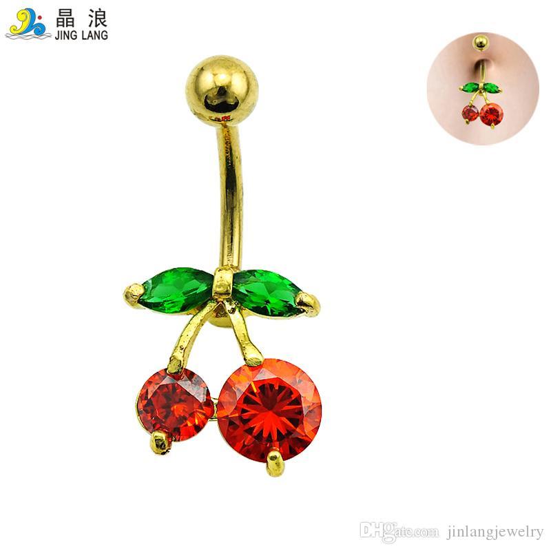 Promozione! Di nuovo arrivo di alta qualità di modo rosso strass ciliegia ombelico anelli per monili del corpo delle donne