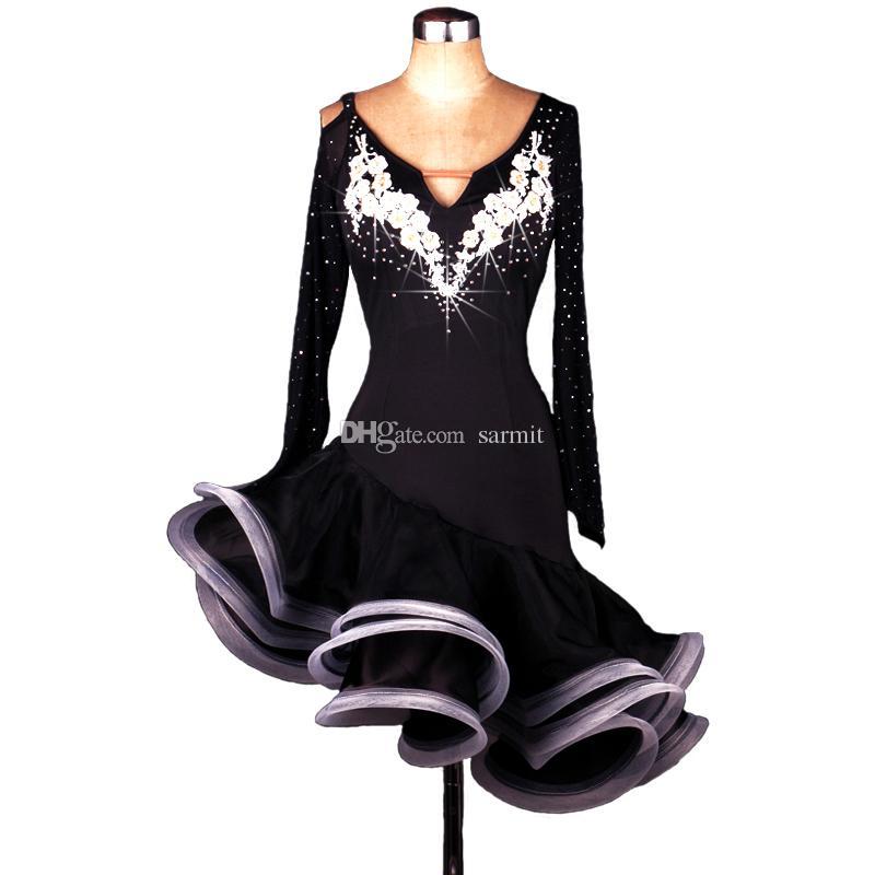 Latin Dance Dress Women Salsa Dress Latina Samba Dance Costumes Tango Salsa Dress Samba Costume D0007 Dance Wear Rhinestones Backless