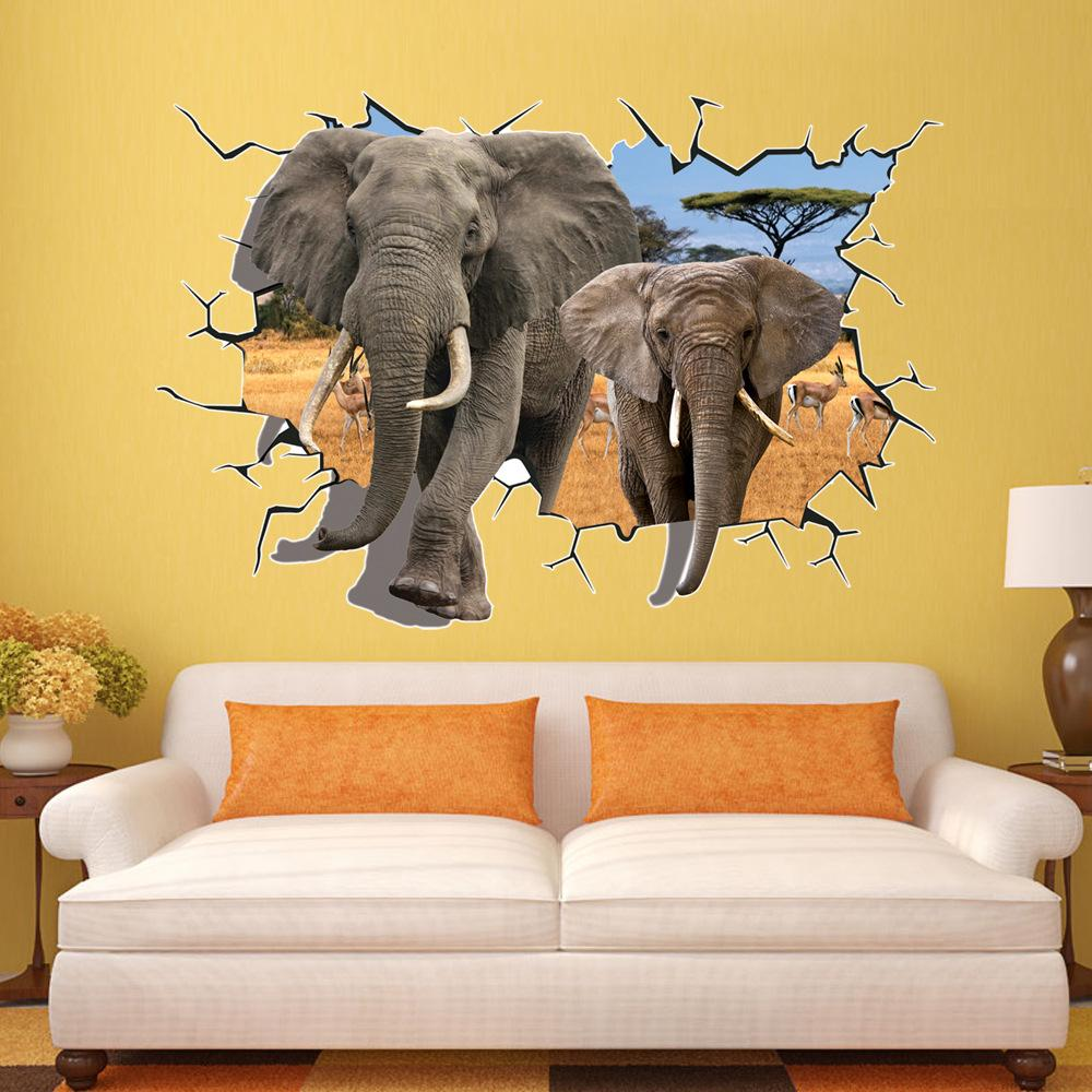 Removable 3d Elephant Wall Stickers Animal Series Self Adhesive ...