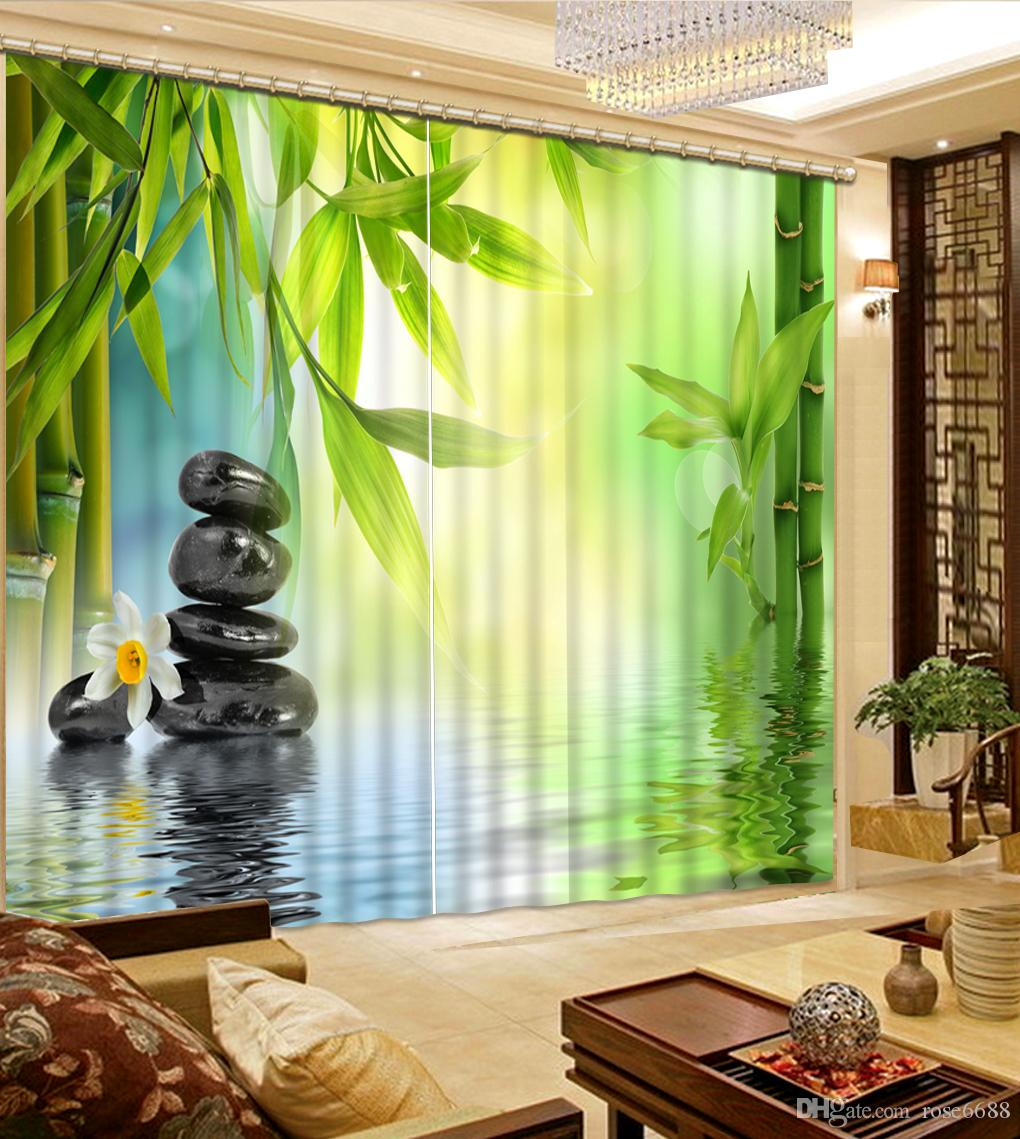 Fashion 3d Home Decor Beautiful Bamboo Stone Custom Curtain Fashion Decor Home Decoration For Bedroom