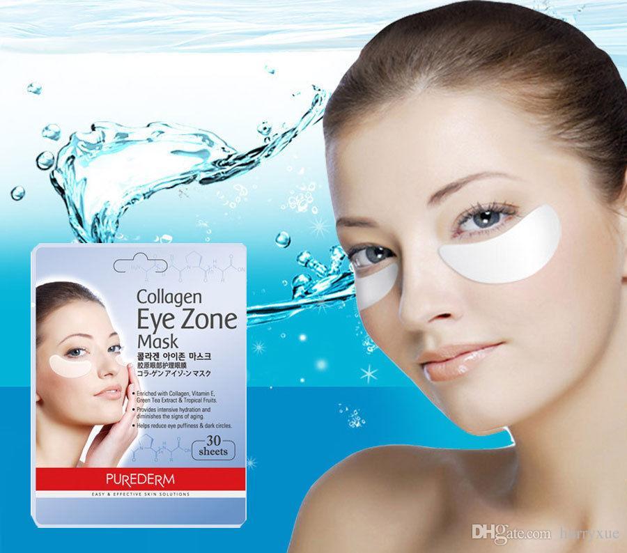 Maschera per gli occhi del pacchetto della maschera della zona dell'occhio del collageno di Purederm 30 strati 1 pacchetto Cosmetici coreani Spedizione gratuita