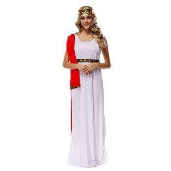 Adult Greek Goddess Athena Goddess Costumes White Muse Cosplay Halloween Costume Dress Uniform Goddess Clothes 2897