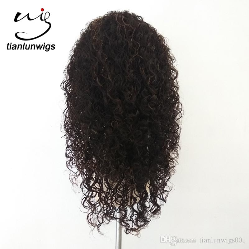 China Wholesale 130% density 16inch highlighted spanish curl human remy hair full lace wig , lace front Brazilian women hair wig for black