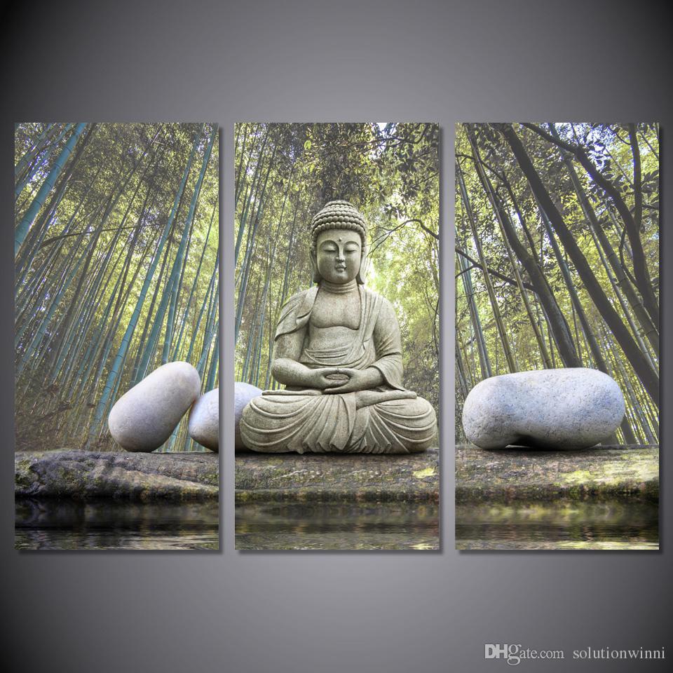 3 шт HD Parted Coney Bamboo Forest Buddha картина настенное искусство холст печать декор плакат холст современная живопись маслом