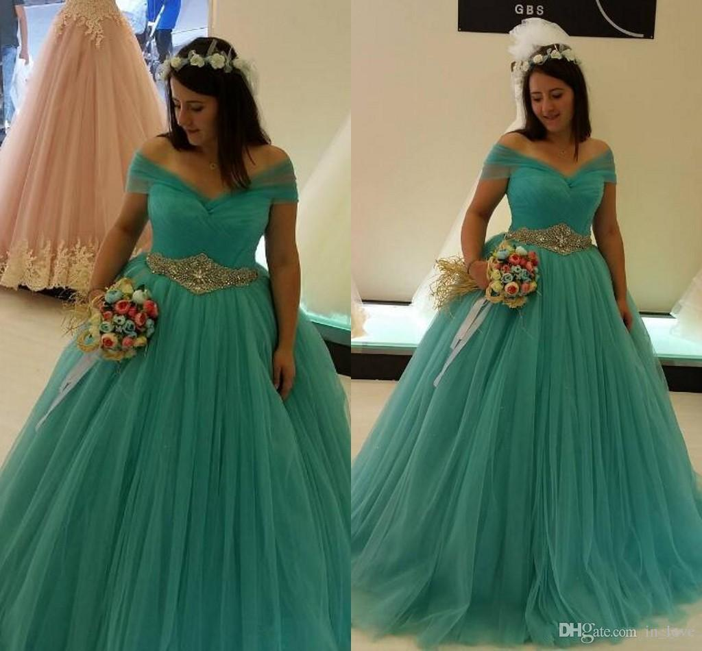 Plus Size Turquoise Wedding Dresses Ball Gown Off Shoulder Diamonds Belt  Tulle Princess Bridal Gowns Custom Size Discount Dresses Gold Wedding Dress  ...