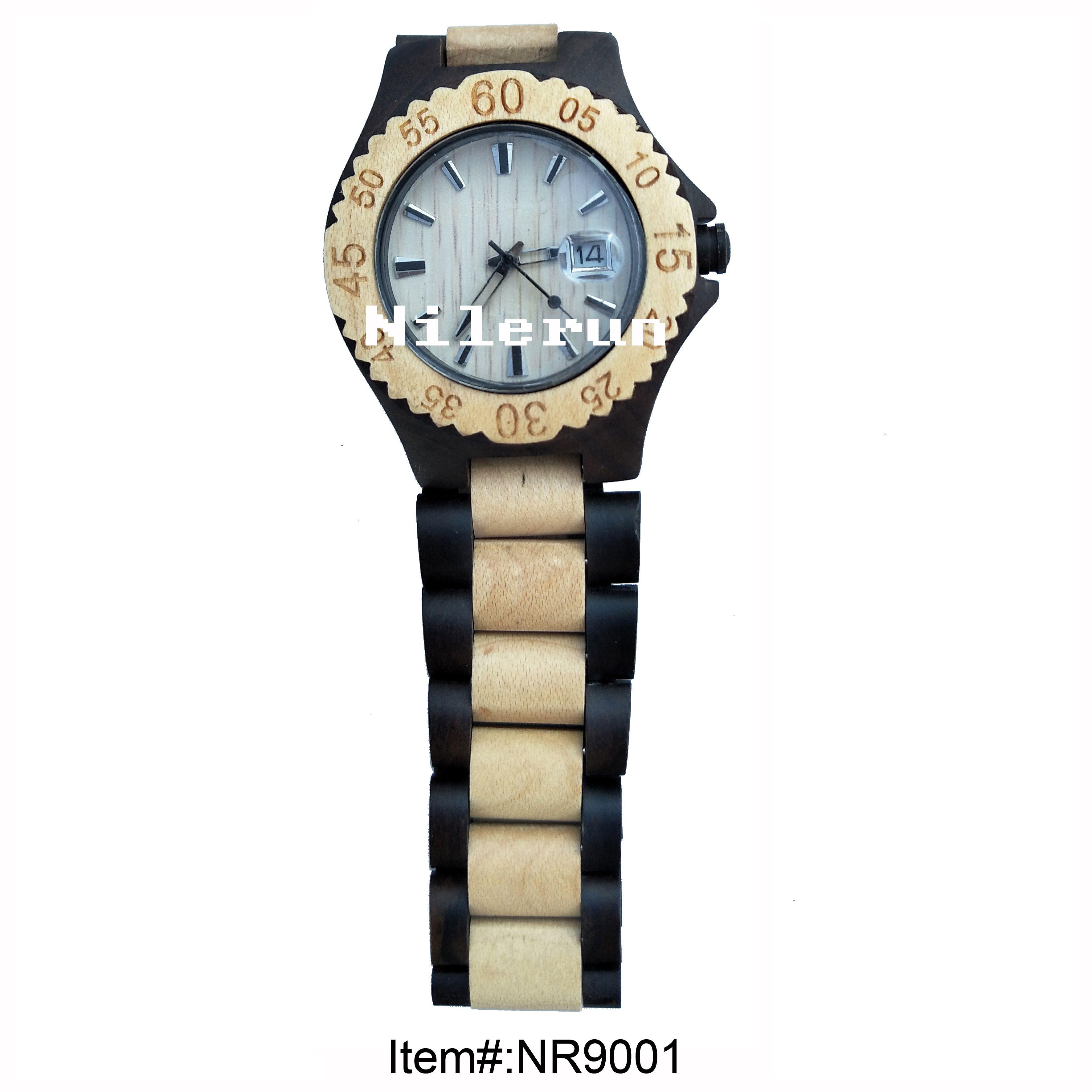 two tone black light color wood wristwatch