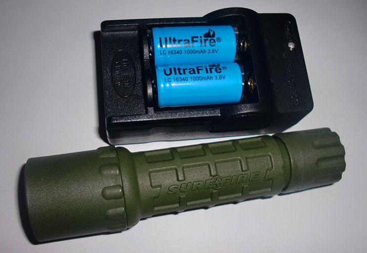 OD 확실한 G2 세트 Cree R2 300Lm Uwe 확실한 UltraFIRE G2 6P P60 블랙 BK 바디 전술 사냥꾼 손전등 16340 RCR123A 배터리 충전기 세트