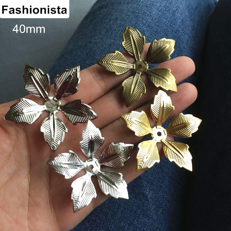 50 pcs Big 3D Metal Flower Bead Caps 40mm Gold-color,Silver-color,Bronze,Steel Color,5 Petal Metal Flowers,DIY Crafts Supplies