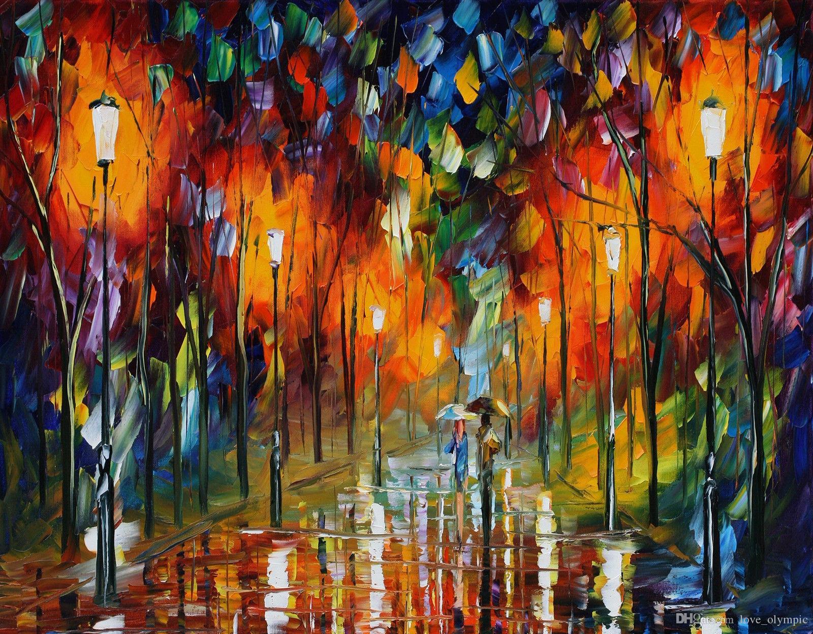 Enmarcado pintado a mano de la alta calidad de lluvia a ras par de grandes pinturas pared del arte abstracto de Deco óleo moderna en lona Multi Tamaños envío R61