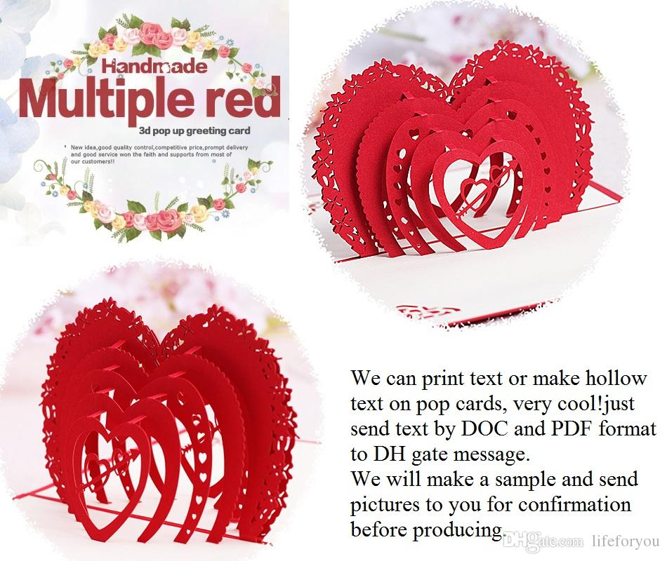 Laser Cut Wedding Invitations Wedding Favors 3d Wedding Invitations Cards Customized Love Heart Pop Up Cards Party Favors With Envelope Online