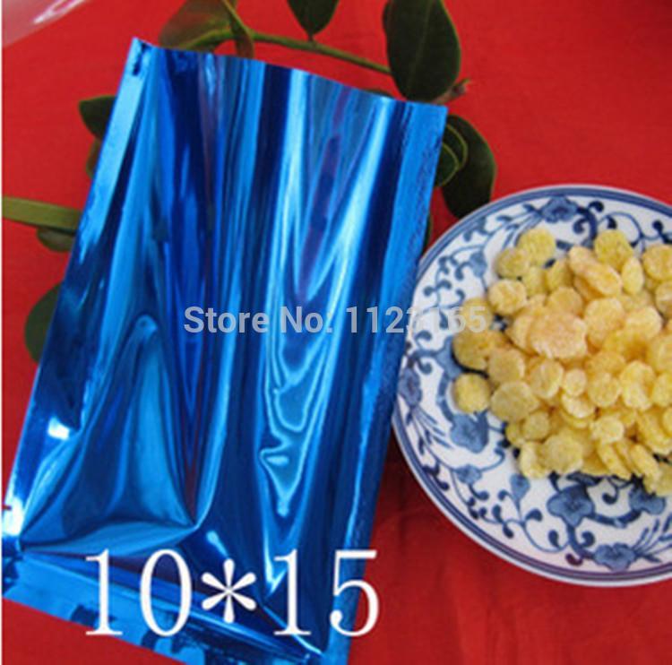 10x15cm, 200pcs x sachet en plastique bleu en aluminium thermoscellé avec couvercle supérieur, pochette en mylar en aluminium grain de café / emballage électronique