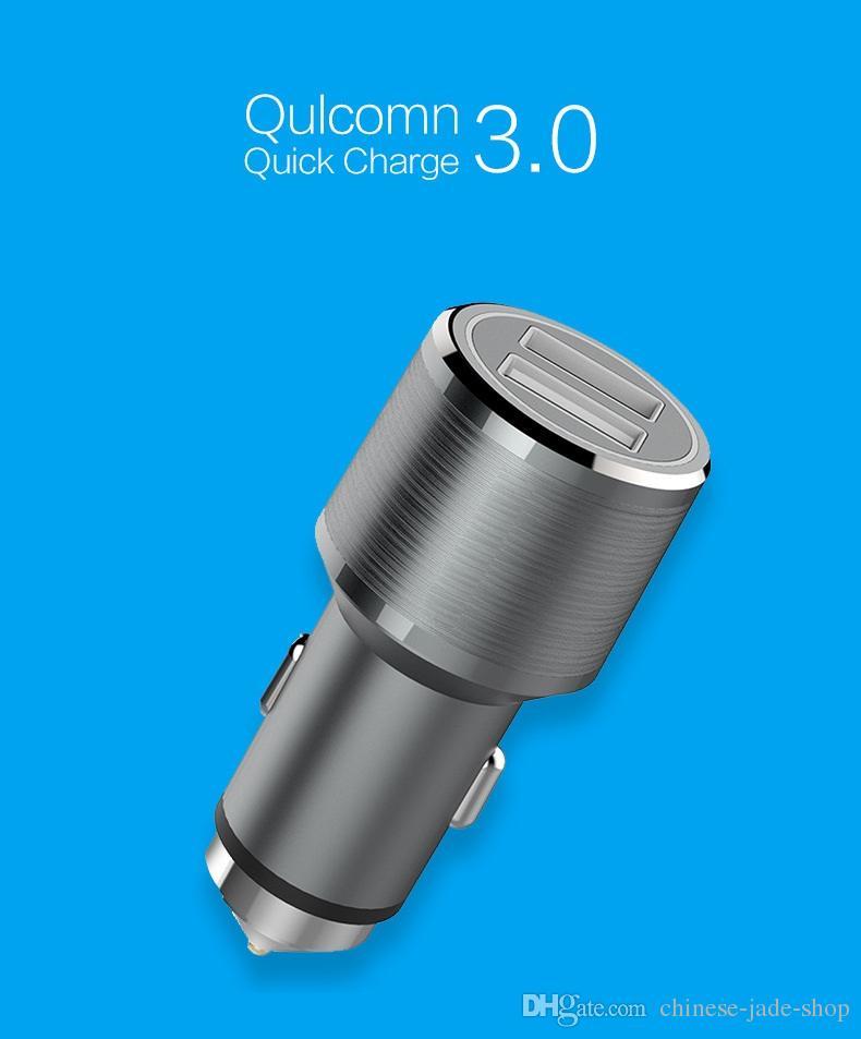 安全ハンマーアルミ合金シェルQC 3.0 + 2.4A最大30W 2ポートUSB車の充電器アダプタースマートフォンタブレットPC 50PCS /ロット