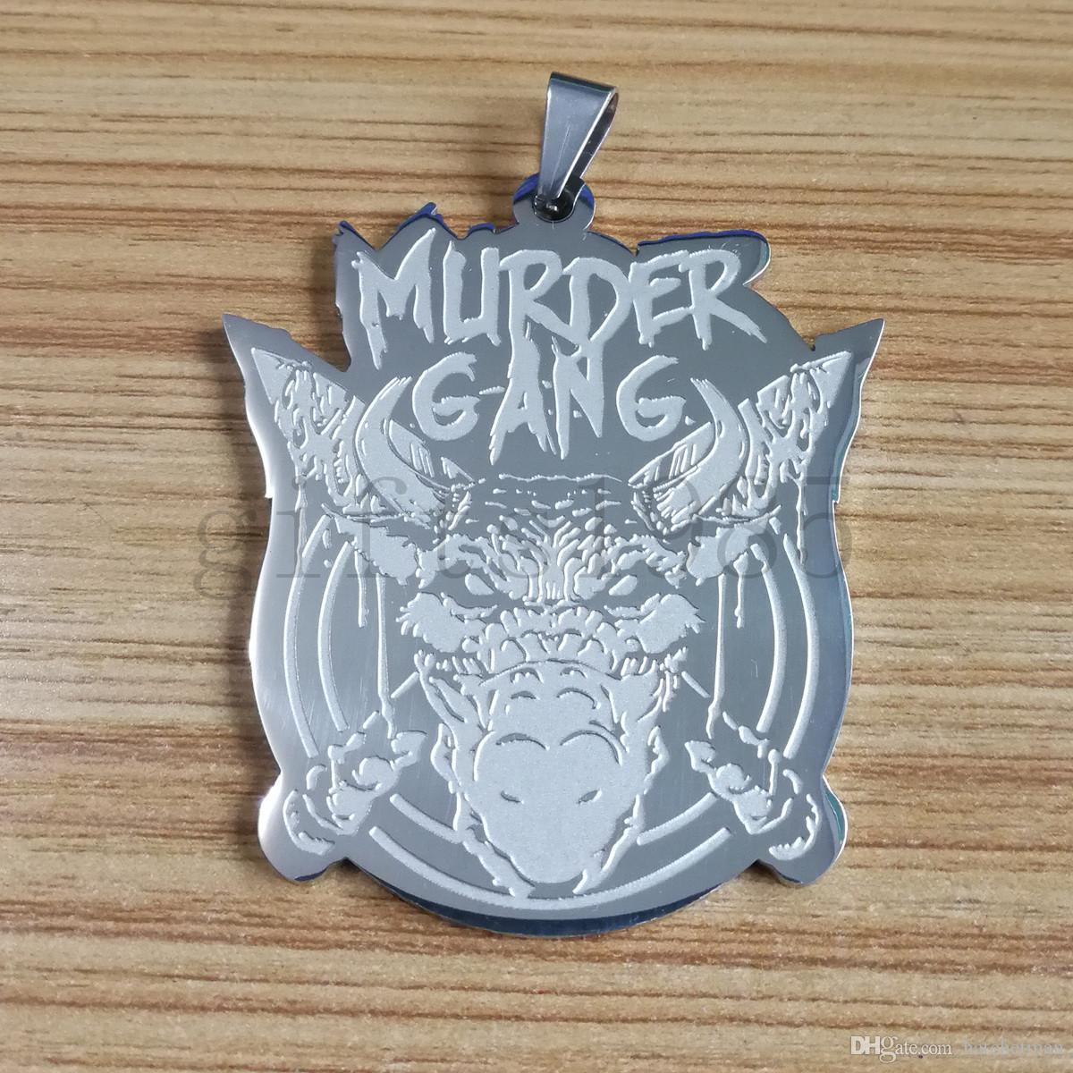 Legal Assassino GANG Grande 2.5IN Assassino charme Aço Inoxidável Polido esculpida pingente bola cadeia colar de 30 polegadas navio livre