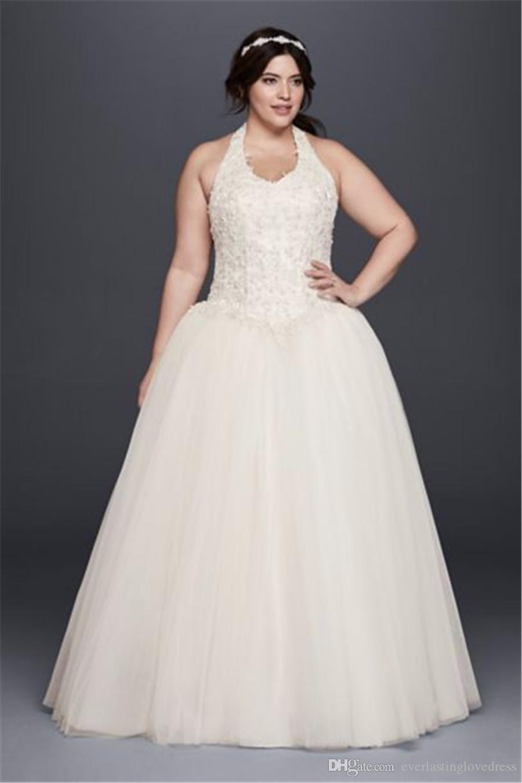 Halter Neckline Basque Waist Plus Size Ball Gown Wedding Dress 9OP1271  Applique Lace Top Floor Length Bridal Gown Wedding Dresses With Straps  Weddings ...