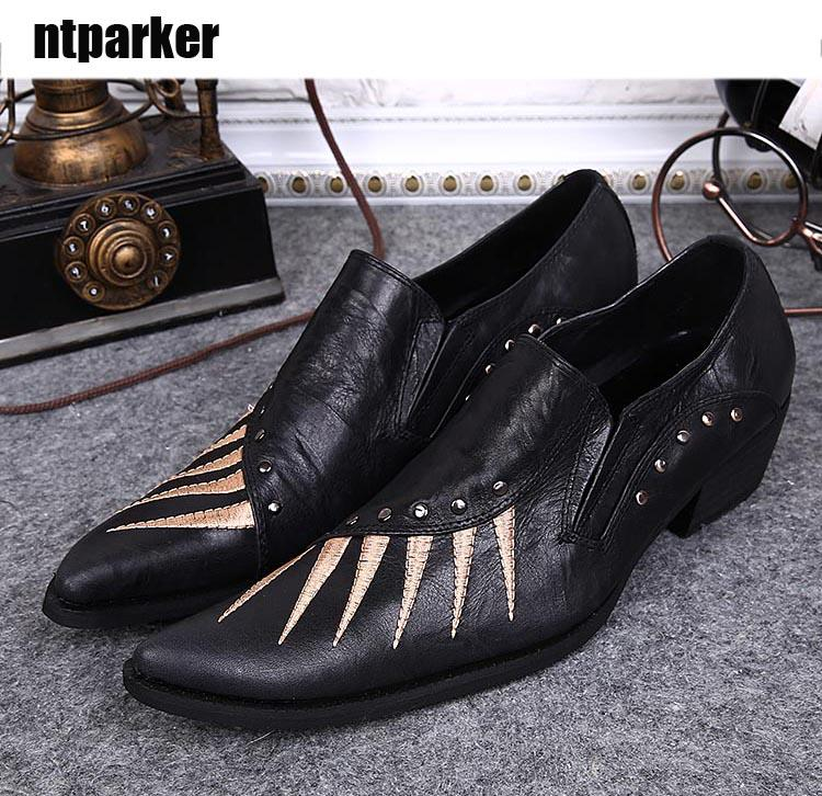 Scarpe in pelle stile giapponese Rivestimenti di personalità nera Rivetti Scarpe eleganti Uomo Affari / Feste / Scarpe casual 45 46