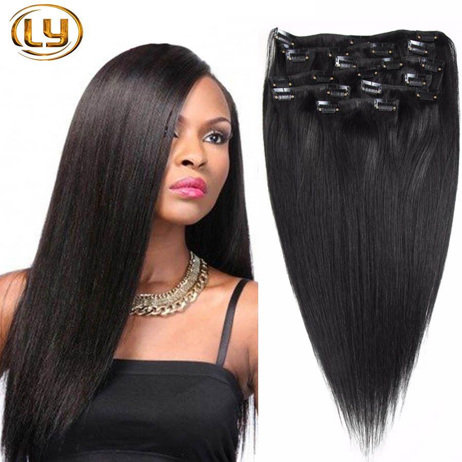 """LY Clip In Sets Products 10PCS Clip in Human Hair Extensions 14 """"-30"""" مستقيم اللون الطبيعي 7A الصف شعر الإنسان"""