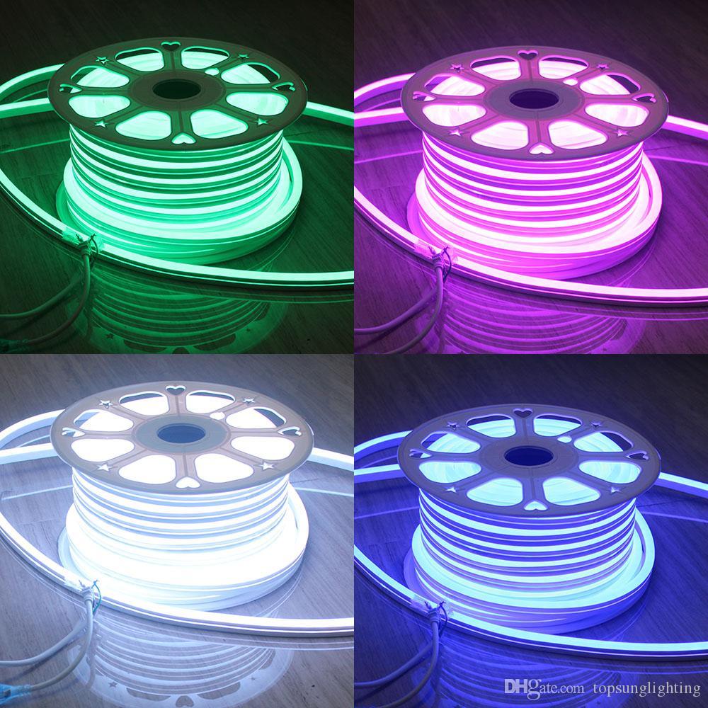 50 M (164 ') Spool 220 V Neon Tubo Macio Resistência UV Mini 11x18mm Corda À Prova D' Água RGB LED Sinais de Néon Flex Iluminação Interior Ao Ar Livre