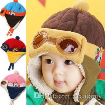 10 to 48 Months Baby Winter Hat 4 Colors Toddlers Cool Baby Boy Girl Infant Winter Pilot Warm Kids Cap Hat Beanie