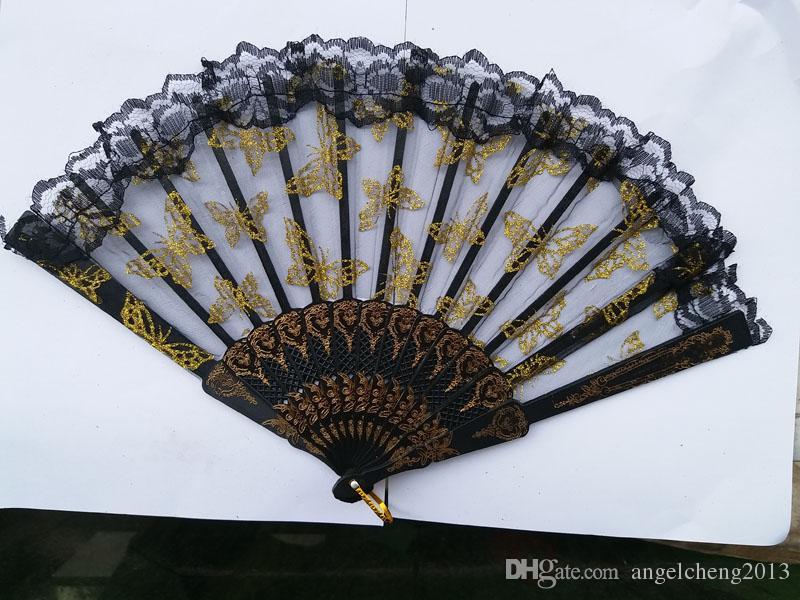 Borde de cerda joven del cordón del estilo chino del ventilador de plástico encaje de aguja de oro de la mariposa de encaje transparente de plástico portátil abanicos plegables 60pcs / lot