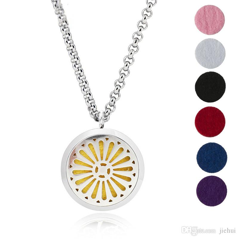 Aromatherapy Essential Oil Diffuser Necklace Jewelry -30mm Hypoallergenic 316L Surgical Grade Stainless Steel(Send Chain and 6 Felt Pad) Y2