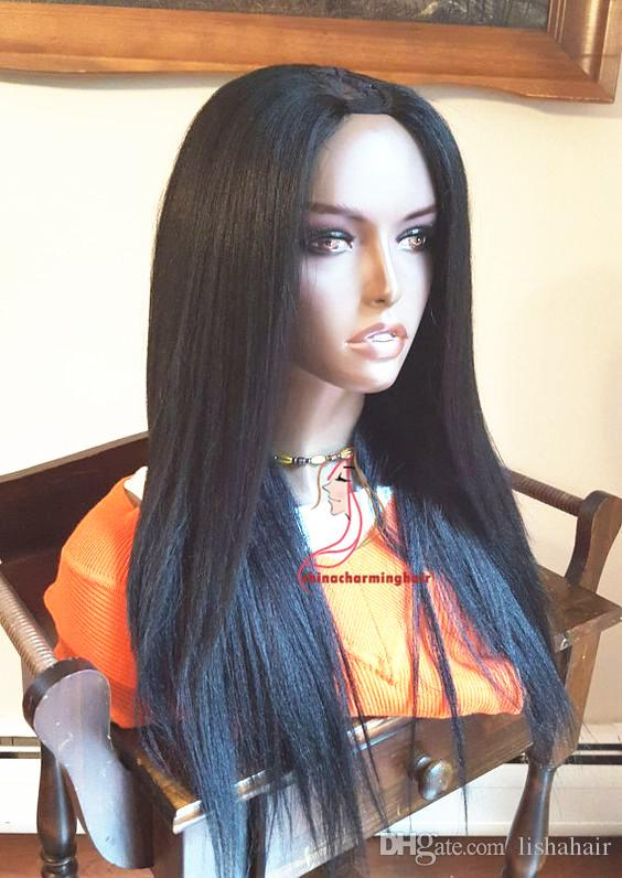 Yaki straight Human Hair U Part Wigs For Black Women Top Quality yaki straight U part Wigs in stock