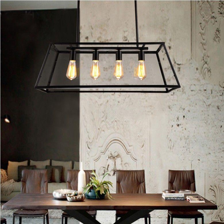 Schön ... Loft Pendelleuchte Retro American Industrial Black Iron Glas  Rechteckige Kronleuchter Licht Wohnzimmer Esszimmer Licht Bar Lampe ...