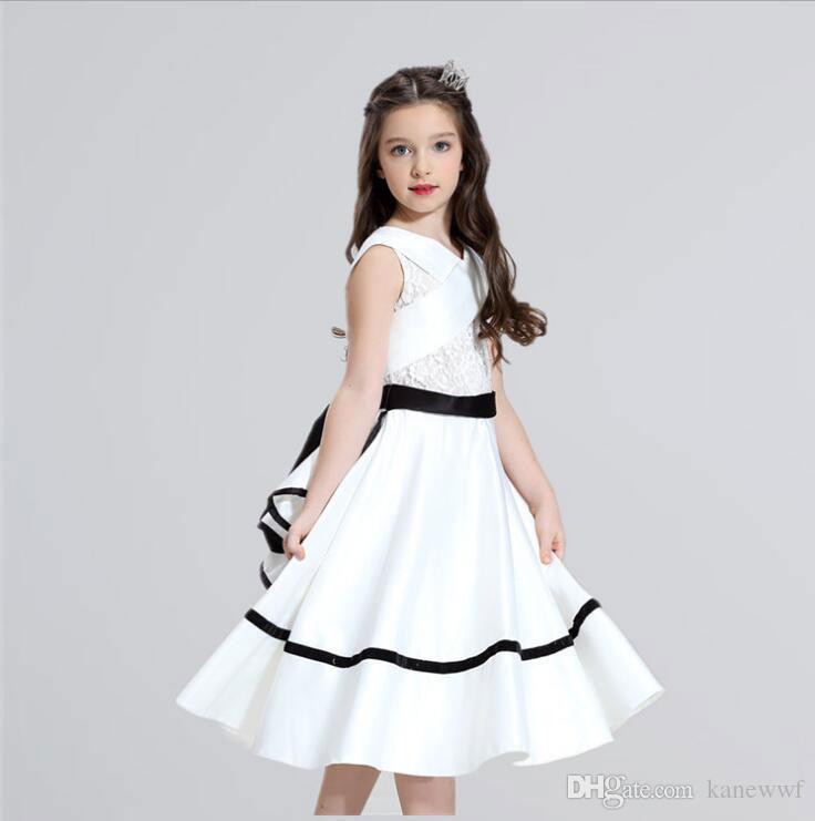 Vestidos de Daminha Elegante Bianco Pizzo Prima Comunione Abiti da Comunione per ragazze Pageant Flower Girl Dress Dress Girl Abiti da festa di nozze