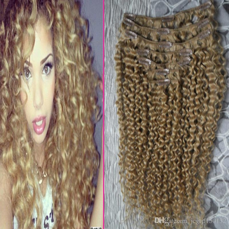 Afro kinky clip in extensions clip in human hair extensions 7pcs honey blond kinky curly african american clip in human hair extensions