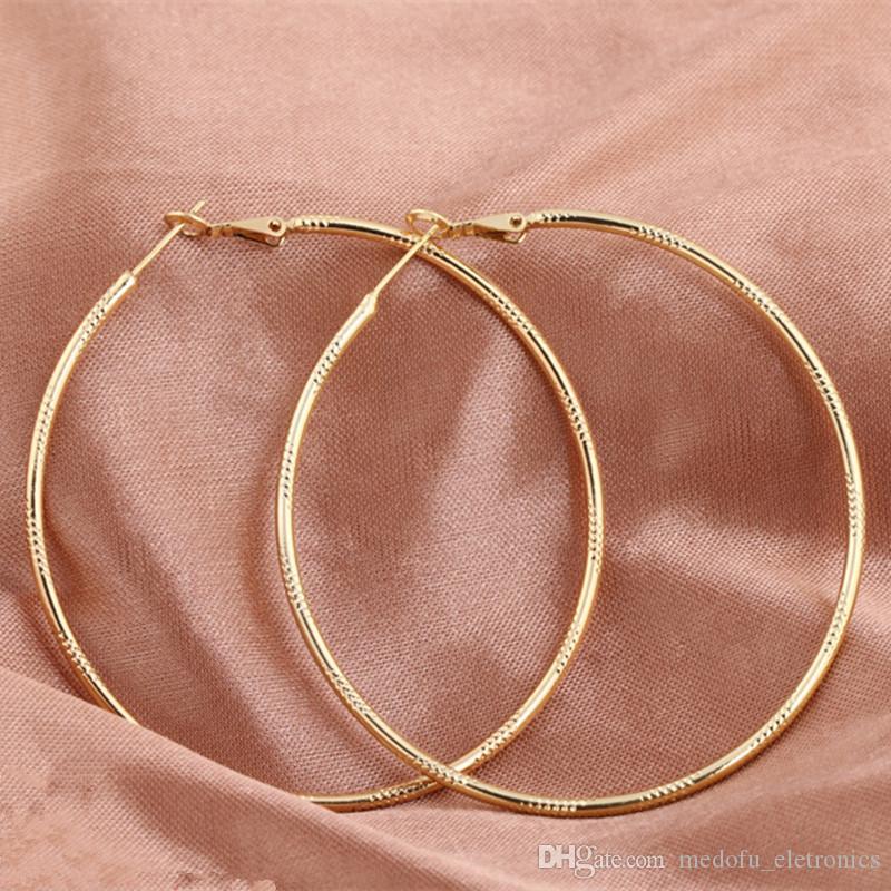 Alta calidad de la manera del aro pendientes para las mujeres Brincos joyería delgado de 18 quilates en oro amarillo de las mujeres grandes de los aros Pendientes ER-930
