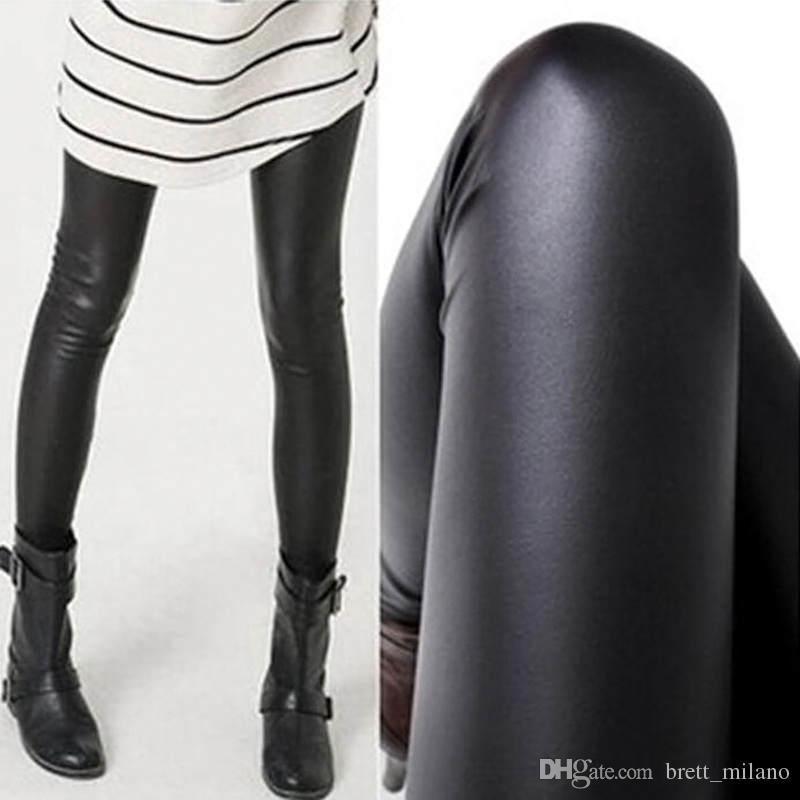 All'ingrosso-donne calde sexy nero bagnato sguardo faux leggings in pelle pantaloni lucidi sottili più venduti # c