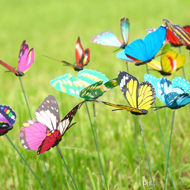 Hot Sale Wholesale 200Pcs Colorful Butterfly On Sticks Garden Vase Lawn Craft Art Decoration New Arrivals