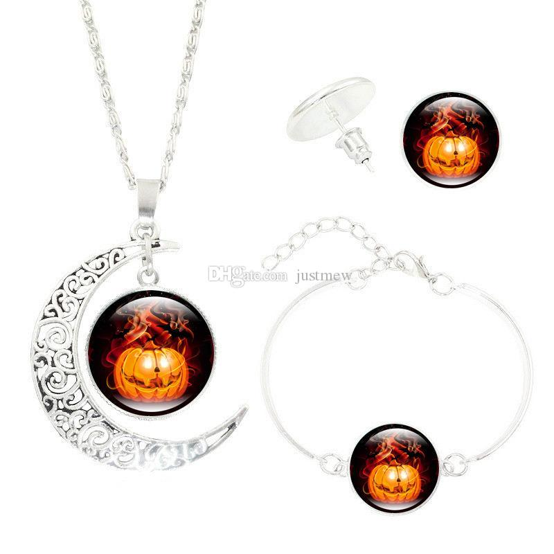Hot!5Set Halloween children jewelry set Wicked Witch Glass Cabochon Silver Crescent Moon Pendant necklace earrings bracelet sets