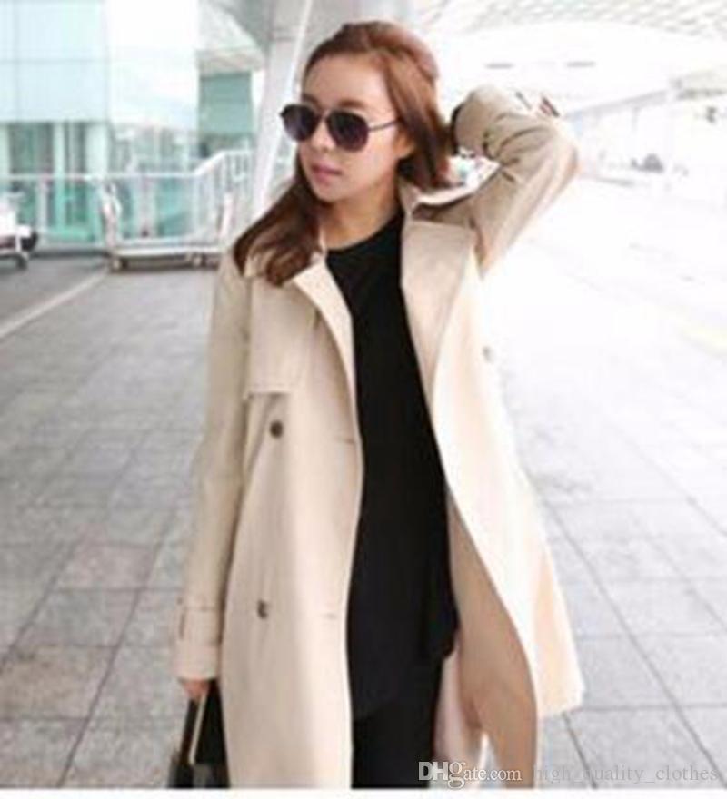 漢版の女性秋の気質は、長いトレンチコート/ S-2XLの薄いレジャーファッションデザインを栽培する
