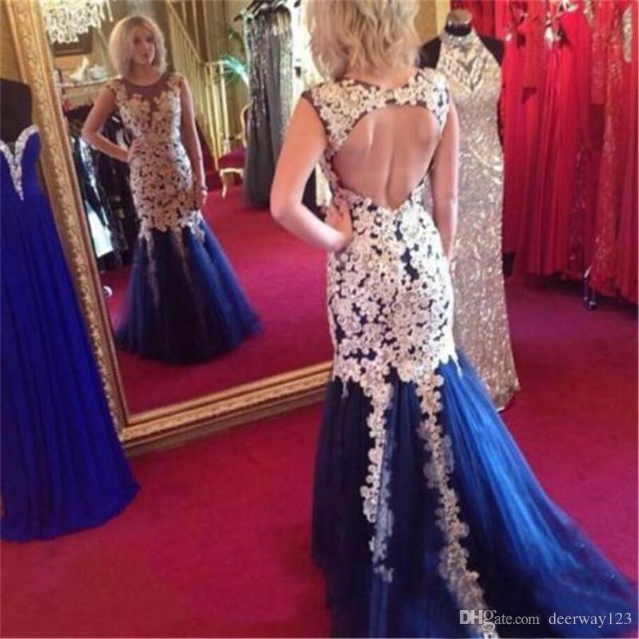 Scoop Neck Sleeveless Königsblau Tüll Backless Mermaid Prom Kleider mit Applikationen Abendkleid Roben De Soiree Longues