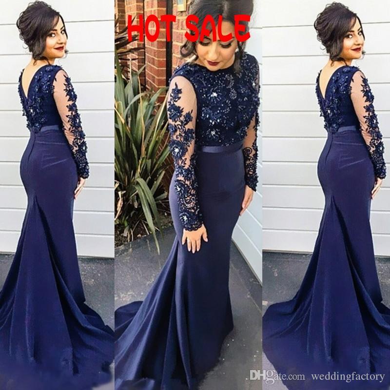 Venta caliente popular sexy vestido de fiesta barato azul marino ilusión mangas largas por encargo sirena vestidos de fiesta de noche vestido formal tren de barrido