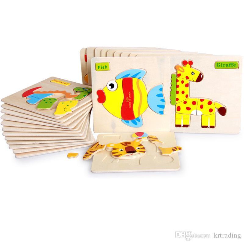 24 estilos Niños linda animales rompecabezas de madera 15 * 15cm del bebé Bebés colorido de madera juguetes vehículos de inteligencia del rompecabezas de animales para 1-6T