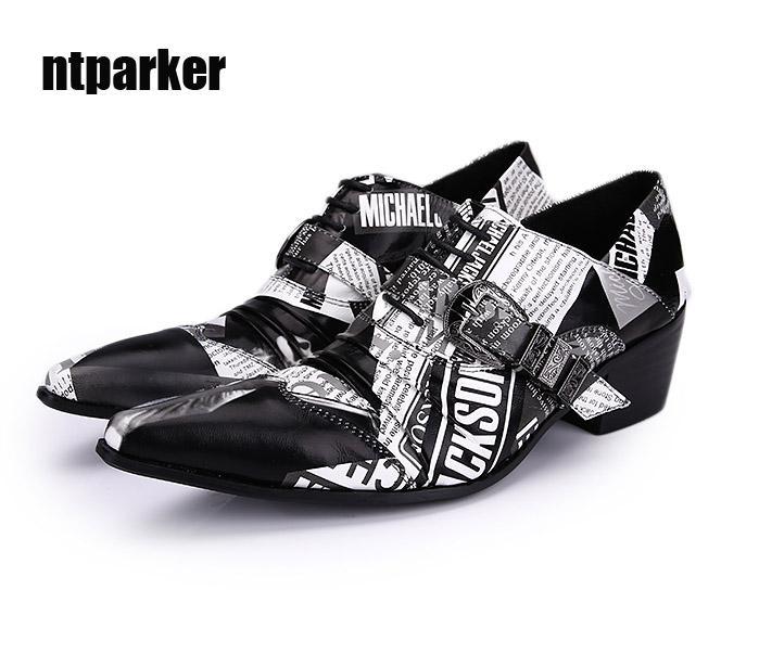 Big Size EU38-46! Rock Personality Paper Pattern Design Uomo Scarpe Altezza Aumentato Abito uomo scarpe Lteather, nave libera!