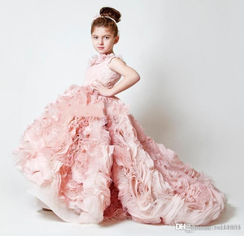 Hot Sale Pink First Communion Dresses For Girls Flowers Appliques Rose Flower Girl Dress Long A Line Appliques Lovely Kids Pageant Gowns