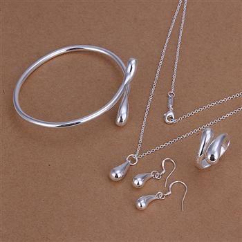 925 Sterling Zilveren Sieraden Set Drop Oorbellen Ringen Kettingen Charm Armband Combinatie 5 Set / Lot