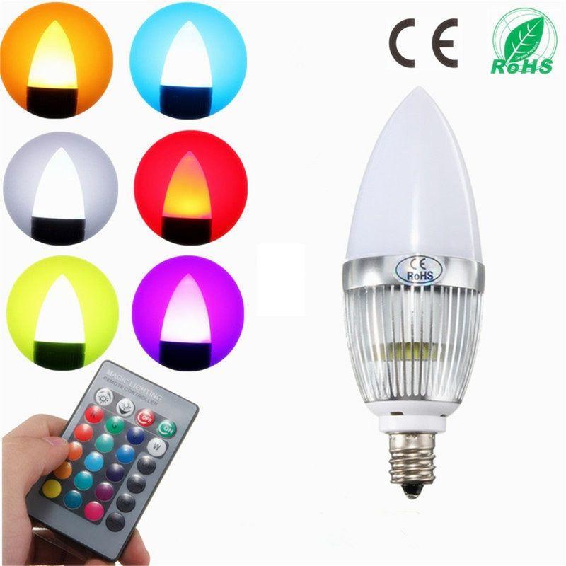 샹들리에 촛대 캔들 라이트 LED 램프 + 리모콘 조명 AC85-265V 변경 E12 RGB LED 전구 3W 플래시 색상